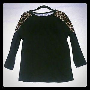 Women Black / Leopard Print Sweater sz M